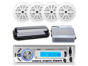 Pyle PLMR21BT Bluetooth Marine Boat Yacht USB/SD/MP3 Radio Stereo Receiver Head Unit, PLMR41W Pyle 4'' Dual Cone Waterproof White Stereo Speaker System, PLMRA400 Pyle 4 Channel 400 Watt Waterproof Mar