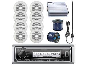 "Kenwood KMRM315BT Marine Boat Radio Stereo Receiver Bundle Combo With 8x Magnadyne WR45W 5"" White Waterproof Speakers + 400-Watt Car/Marine Amplifier + Enrock Radio Antenna + 50Ft 16g Speaker Wire"