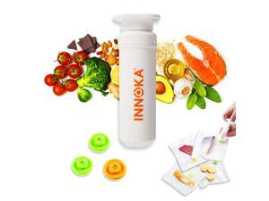 10-Piece Manual Sous-Vide Bag Kit, by Innoka Food Vacuum Sealed Bags Reusable Bags BPA Free, include 5 Vacuum Bags, 3 Valves, 1 Sealing Clip, 1 Pump, Practical for Food Storage & Sous Vide Cooking
