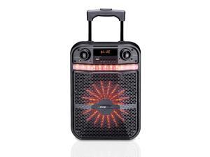 Pyle PWMA337BT Portable Bluetooth Karaoke Speaker System - Digital PA Loudspeaker with Downloadable App, Flashing DJ Lights, Rechargeable Battery, Wired Microphone, FM Radio