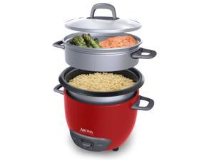 AROMA ARC-743-1NGR 3 Cups (Uncooked)/6 Cups (Cooked) Pot-Style Rice Cooker and Food Steamer, Red