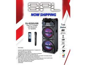 "DJ-8200USB Dual 12"" Portable LED Bluetooth DJ Speaker"