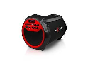 "AXESS BLUETOOTH PORTABLE HIFI CYLINDER 2.1 SPEAKER W/ 6"" SUB-AM/FM RADIO, USB AUX AND WIRELESS MIC-BLACK/RED"