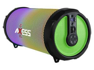 Axess SPBL1044GN Green LED Bluetooth Media Speaker with FM