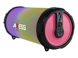 Axess SPBL1044PK Pink LED Bluetooth Media Speaker with FM