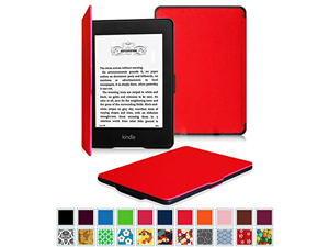 Fintie SmartShell Case for Kindle Paperwhite - The Thinnest and Lightest Leather Cover for All-New Amazon Kindle Paperwhite (Fits All versions: 2012, 2013, 2014 and 2015 New 300 PPI), Red