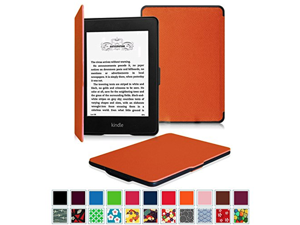 Fintie SmartShell Case for Kindle Paperwhite - The Thinnest and Lightest Leather Cover for All-New Amazon Kindle Paperwhite (Fits All versions: 2012, 2013, 2014 and 2015 New 300 PPI), Orange
