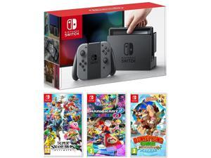 Nintendo Switch Gray, Super Smash Bros, Mario Kart 8, and Donkey Kong Bundle Import Region Free