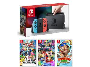 Nintendo Switch Neon, Super Smash Bros, Mario Kart 8, and Donkey Kong Bundle Import Region Free