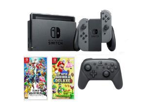 Nintendo Switch Gray, Switch Pro Controller, Smash Bros & Mario Deluxe U Bundle
