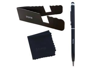 iHome Tablet and Smartphone 3-in-1 Microfiber Cloth, Stylus Pen & Stand Bundle - Black