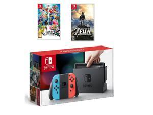 Nintendo Switch Neon Red/Blue 32GB & Smash Bros Ultimate & The Legend of Zelda Bundle