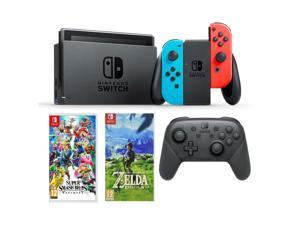 Nintendo Switch Neon, Switch Pro Controller, Super Smash Bros, Legend of Zelda Game Bundle