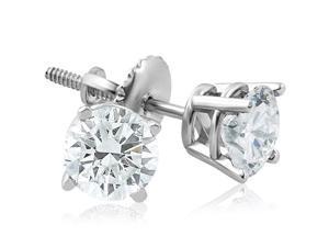 87a2db2d6 F/G SI 1ct Diamond Screw Back Round Studs 14k White Gold Clarity Enhanced