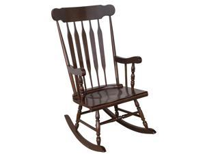 Homcom Traditional Slat Wood Rocking Chair Indoor Porch Furniture For Patio
