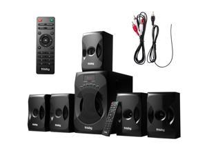 Frisby 5.1 Surround Sound Home Theater System with Subwoofer, Bluetooth Wireless Streaming from Devices, USB MP3 Input, Memory Card Reader, FM Radio Tuner - Black