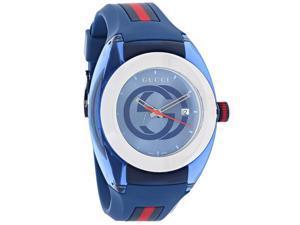 c821b03e79b Gucci 137 Sync XXL Blue Red Rubber Strap Swiss Quartz Watch YA137104
