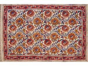 Hand Block Print Veggie Dye Cotton Rug Mat Dianthus Wheat 2/' x 3/'