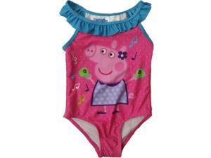 000ac1d7409e4 Infant Toddler Girls Hot Pink Peppa Pig Ruffled Polka Dot 1 Piece Swimming  Suit