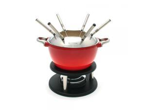 Swissmar Noirmont Enameled Cast-Iron 10-Piece Meat Fondue Set, Red