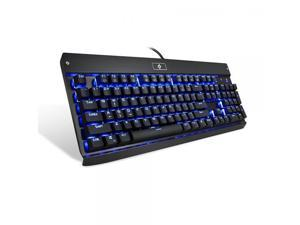 Gaming Keyboard Mechanical Illuminated Keyboard LED Backlit for PC Gamer 104 keys Industrial Aluminium backlighted Keyboard with blue switch KG010 by EagleTec