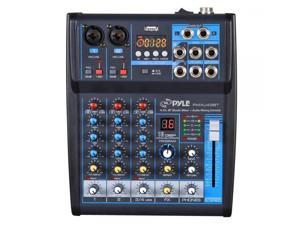 Pyle Professional Audio Mixer Sound Board Console System Interface 4 Channel Digital USB Bluetooth MP3 Computer