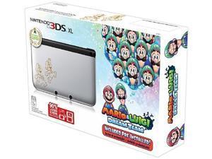nintendo 3ds xl, silver  mario & luigi dream team limited edition