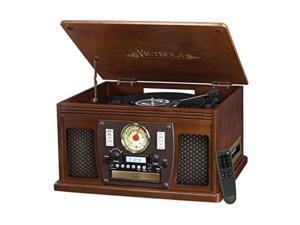 victrola nostalgic aviator wood 8in1 bluetooth turntable entertainment center, espresso