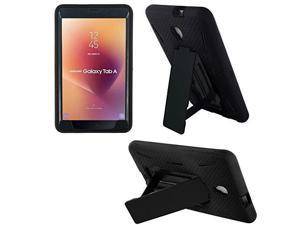 "kiq compatible shockproof heavy duty dual protection hybrid case cover for samsung galaxy tab a2 s/a2s  8.0"" smt380 & smt385 black/black"