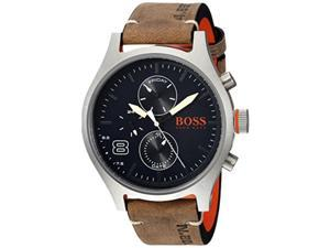 hugo boss men's 'amsterdam' quartz stainless steel and leather casual watch, color grey model: 1550021