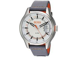 hugo boss men's 'hong kong sport' quartz stainless steel and nylon casual watch, color grey model: 1550015