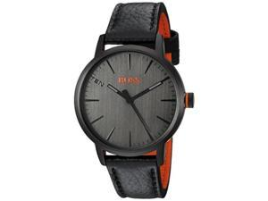 hugo boss men's 'copenhagen' quartz stainless steel and leather casual watch, color black model: 1550055