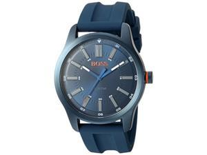 hugo boss men's 'dublin' quartz stainless steel and rubber casual watch, color:blue model: 1550046
