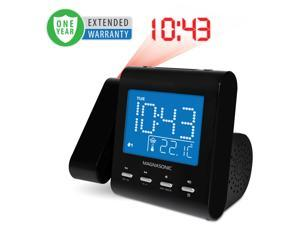 Magnasonic Projection Alarm Clock with AM/FM Radio, Battery Backup, Auto Time Set, Dual Alarm & 3.5mm Audio Input- 1 Year Extended Warranty
