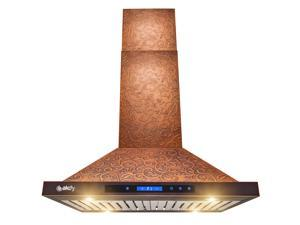 "AKDY RH0401 Island Mount Range Hood –30"" Embossed Copper Hood Fan for Kitchen – 4-Speed Professional Quiet Motor – Premium Touch Control Panel – Elegant Vine Design – Baffle Filter & LED Lamp"