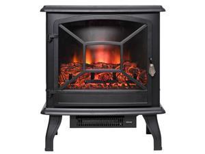 AKDY 20 Black Finish Freestanding Electric Fireplace Heater Stove