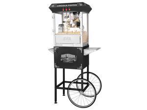 Great Northern Black Antique Style Lincoln Popcorn Popper Machine w/Cart 8 Oz
