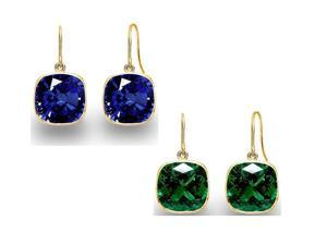 14KT Gold Over Sterling (2 Pairs) 4.00 CTW Created Sapphire and Created Emerald Cushion Cut Drop Earrings