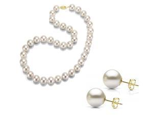 14kt Gold Freshwater Cultured Pearl Necklace & Earrings Set, 18 Inch Princess Length - AAA Quality