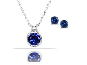 "Voss+Agin Diamond & Created Blue Sapphire Pendant & Earring Set - Sterling Silver, 18"" Chain"