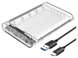 """ORICO USB3.1 Type-C 3.5 inch HDD Enclosure Transparent External Hard Drive Disk Case for 2.5"""" 3.5"""" SATA HDD and SSD Tool Free [ Support UASP and 8TB Drives ]"""
