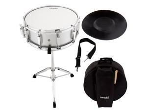 Mendini by Cecilio Student Snare Drum Set with Gig Bag, Sticks, Stand and Practice Pad Kit, Silver