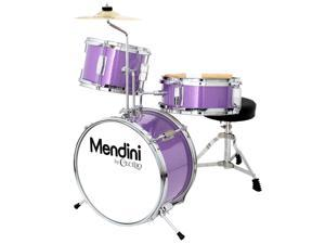 Mendini 13-inch 3-pc Kids Toy Junior Drum Set with Throne Cymbal Pedal Drumsticks, MJDS-1-PL Metallic Purple