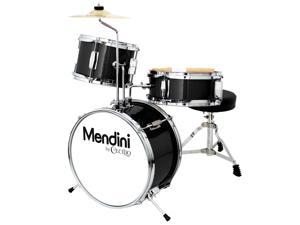 Mendini 13-inch 3-pc Kids Toy Junior Drum Set with Throne Cymbal Pedal Drumsticks, MJDS-1-BK Metallic Black