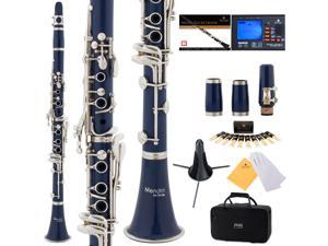 Mendini by Cecilio MCT-2BL Blue ABS Bb Clarinet w/ 2 Barrels, 1 Year Warranty, Stand, Tuner, 10 Reeds, Pocketbook, Mouthpiece, Case, B Flat