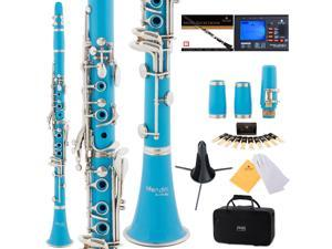 Mendini by Cecilio MCT-2SB Sky Blue ABS Bb Clarinet w/ 2 Barrels, 1 Year Warranty, Stand, Tuner, 10 Reeds, Pocketbook, Mouthpiece, Case, B Flat