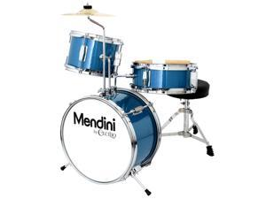 Mendini 13-inch 3-pc Kids Toy Junior Drum Set with Throne Cymbal Pedal Drumsticks, MJDS-1-BL Metallic Blue