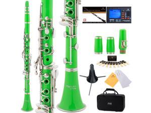 Mendini by Cecilio MCT-2G Green ABS Bb Clarinet w/ 2 Barrels, 1 Year Warranty, Stand, Tuner, 10 Reeds, Pocketbook, Mouthpiece, Case, B Flat
