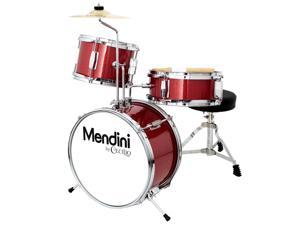 Mendini 13-inch 3-pc Kids Toy Junior Drum Set with Throne Cymbal Pedal Drumsticks, MJDS-1-BR Metallic Bright Red