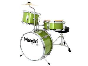 Mendini 13-inch 3-pc Kids Toy Junior Drum Set with Throne Cymbal Pedal Drumsticks, MJDS-1-GN Metallic Green